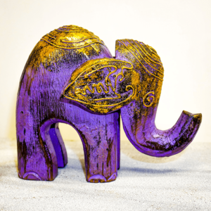 purple gold elephant ornament