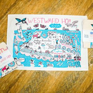 tea towel map colourful illustration