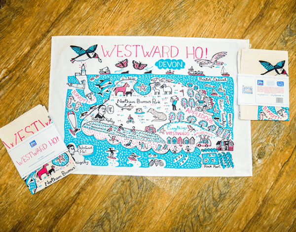 tea towel map colourful illustration