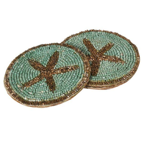Teal Starfish Beaded Coaster