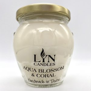 Lyn Candle Aqua Blossom & Coral