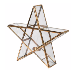 brass glass star candle holder