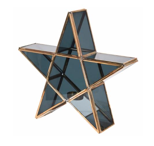 black brass star candle holder
