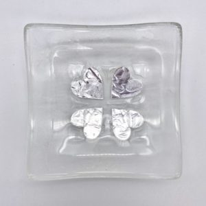 Jo Downs Square Silver Heart Jewellery Dish