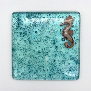 Jo Downs Green Glass Seahorse Coaster
