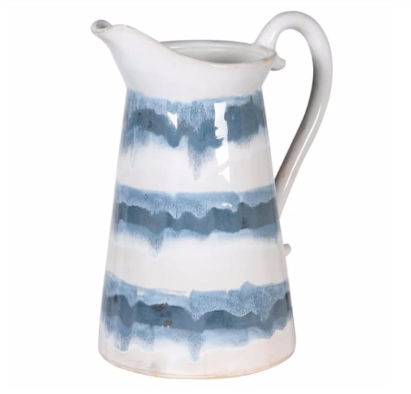 blue and white tie dye jug