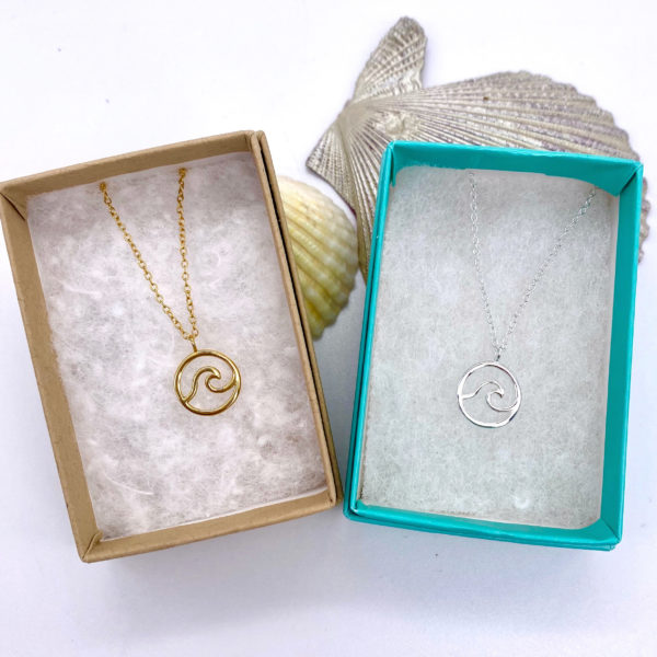 Silver and Gold Wave Necklace