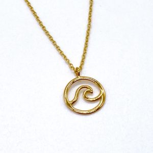 Blue Salt Gold Wave Necklace