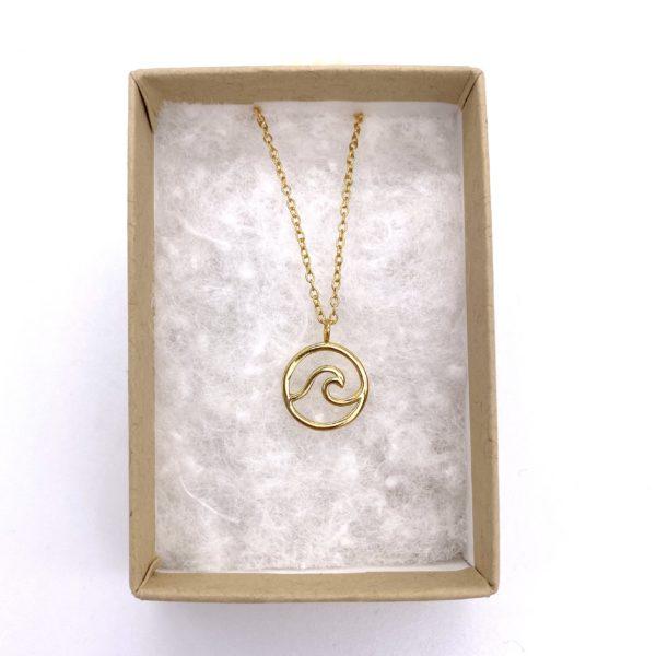 blue salt gold wave necklace