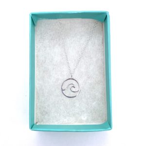 Blue Salt Silver Wave necklace