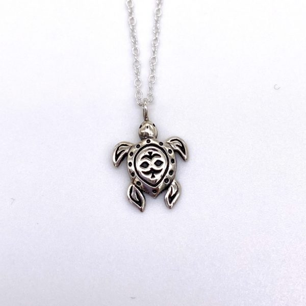 Embossed Silver Turtle Necklace