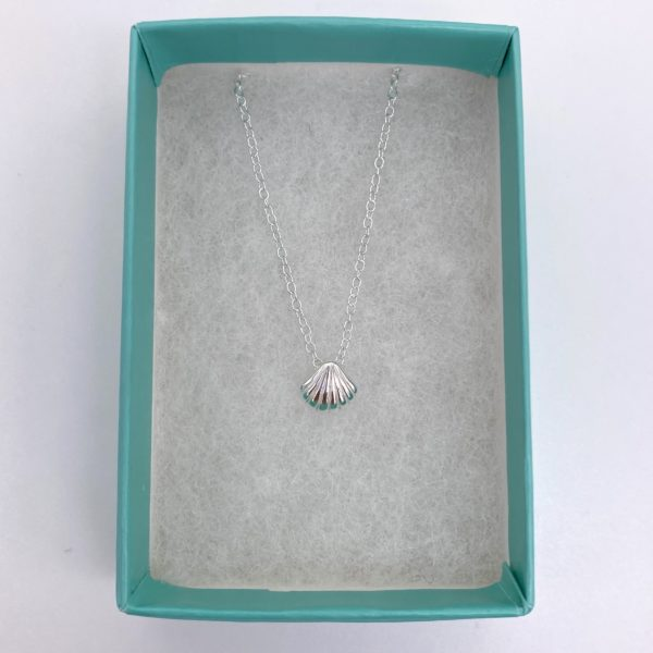 Blue Salt Silver Scallop Shell Necklace