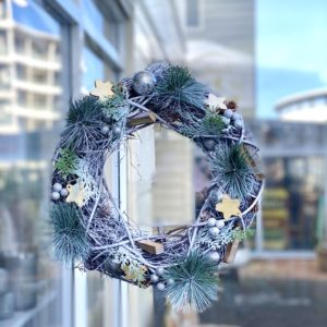 Frosted Silver Stars & Baubles Wreath