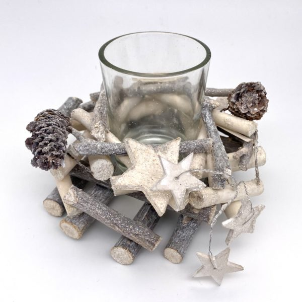 Silver frosty woodland themed with stars little candle votive.