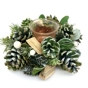 Green, frosted woodland pinecone candle holder