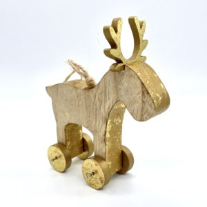 Gold Wood Reindeer Decoration