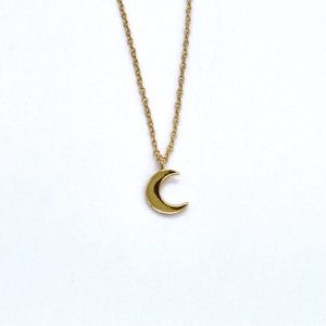 Blue Salt Dinky Gold Moon Necklace