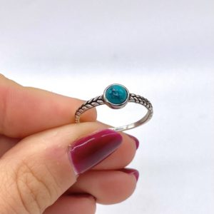 Plaited Silver Turquoise Ring