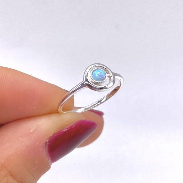 Silver Circle Opal Ring