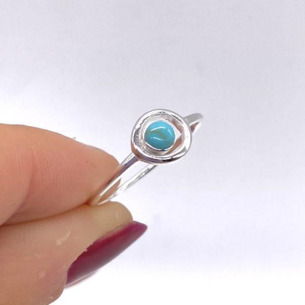 Blue Salt Silver Circle Turquoise Ring