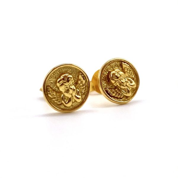 Vintage style gold stud earrings