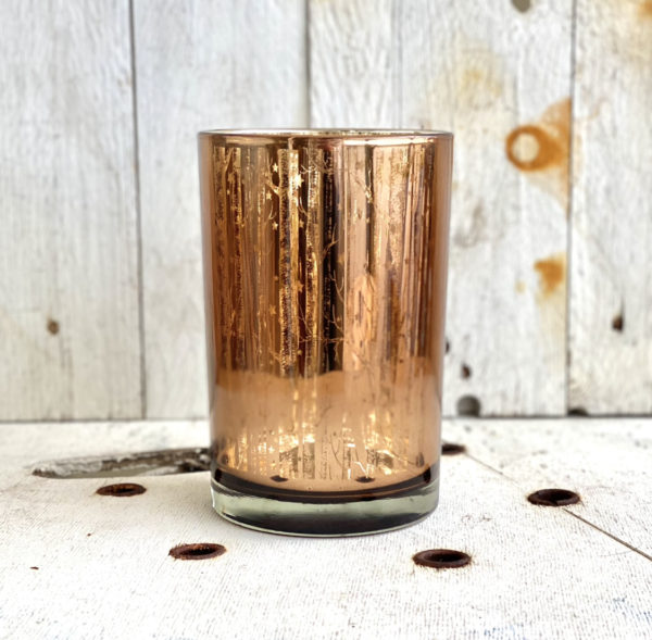 Copper Woodland Stars Glass Candle Holder