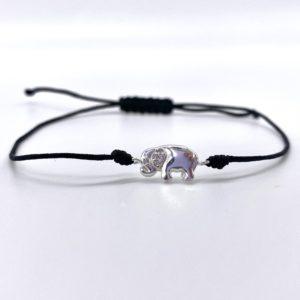 Black corded Silver Elephant Bracelet