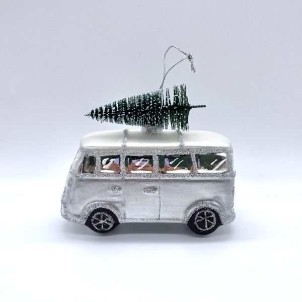 Silver Glittered Campervan decoration