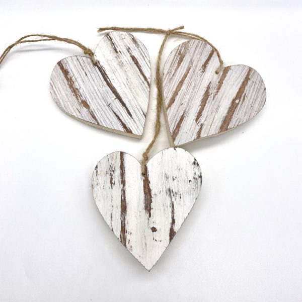 White Wooden Hanging Hearts
