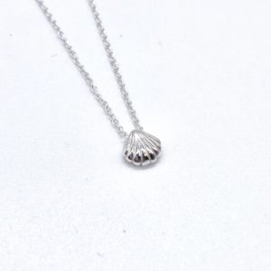 Blue Salt Silver Scallop Shell Necklace