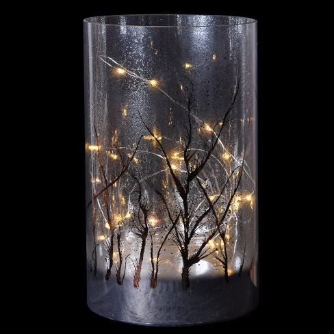 Large LED frosty forest lantern