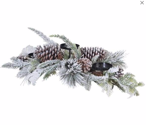 Snowy Pinecone Triple Candle Stand