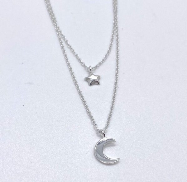 Silver Star and Moon Necklace