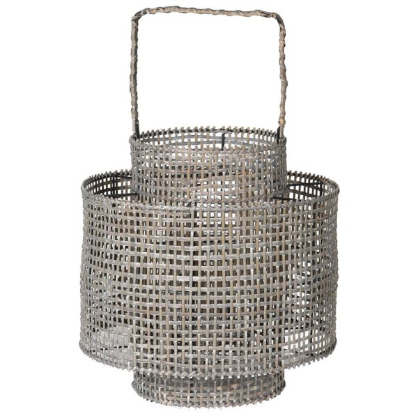 Washed Grey Large Bamboo Woven Lantern