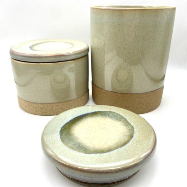 Light grey green jars