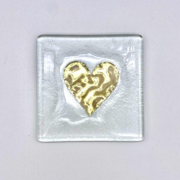 Jo Downs Glass Heart Coaster