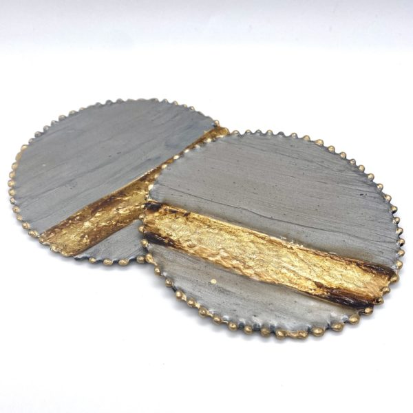 Grey and Gold Enamel Coaster