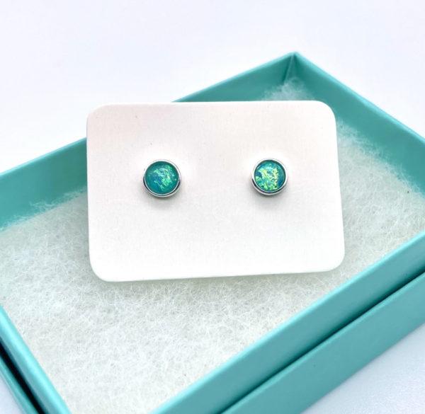 Aqua Crushed Opal Studs