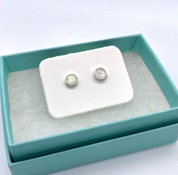 White Crushed Opal Studs