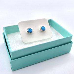 Chunky Aqua Opal Studs