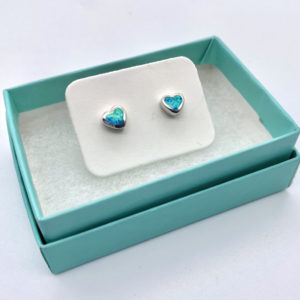 Heart Crushed Opal Studs