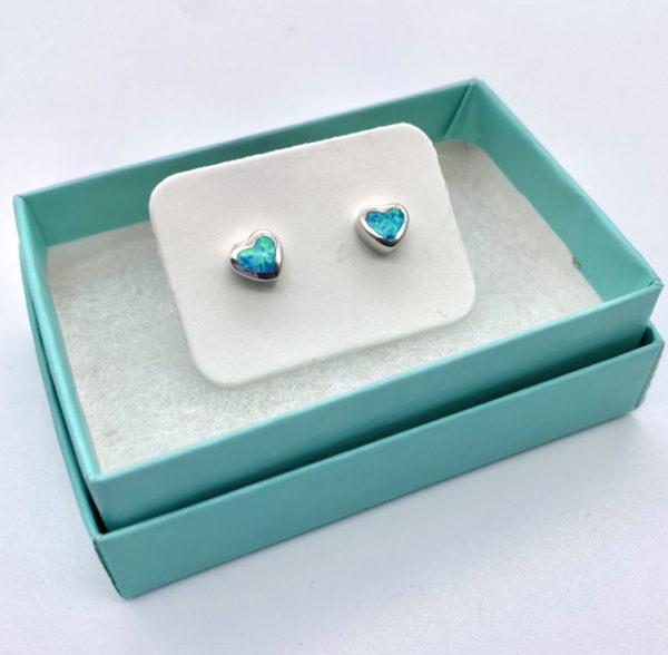 Heart Crushed Opal Studs