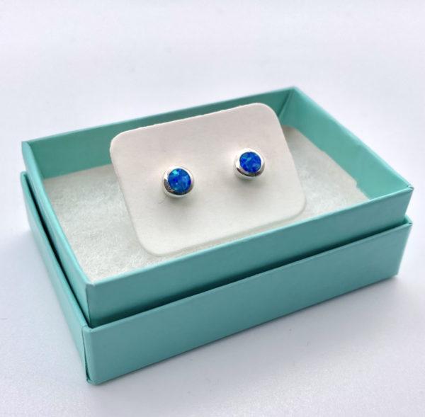 Deep Blue Opal Stud Earrings