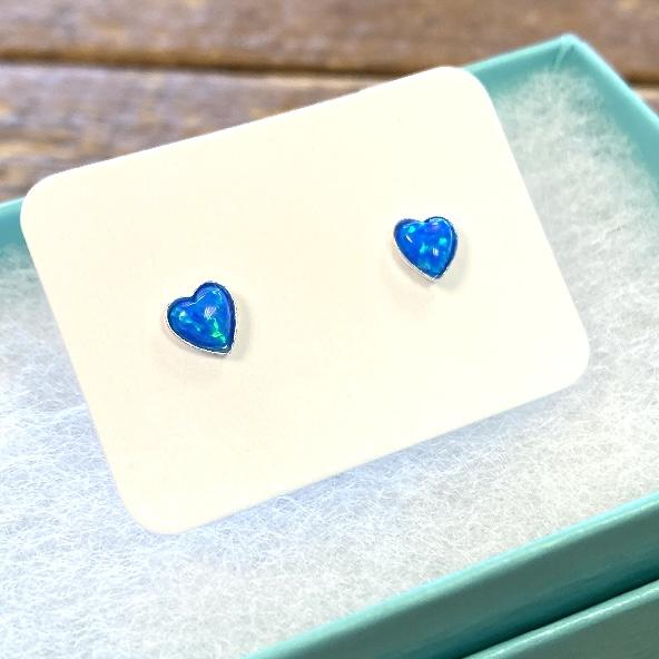 Dark Blue Mini Heart Opal Studs